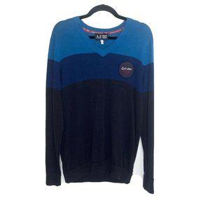 Armani Jeans Mens Large Vneck Sweater Logo Blue